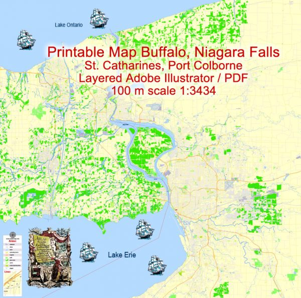 Printable Map Buffalo + Niagara Falls + St. Catharines , US and CA, exact vector Map street G-View City Plan Level 17 (100 meters scale), full editable, Adobe Illustrator