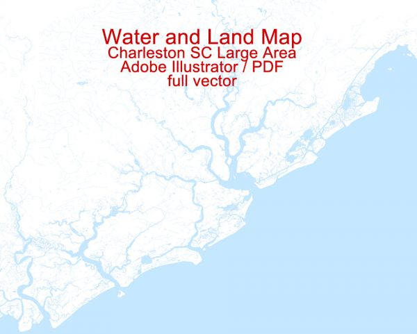 Printable Map Charleston Large Area, CS, US, exact vector Map level 13 (2000 m scale), full editable, Adobe Illustrator and PDF in 1 archive