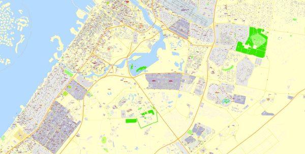 Printable Vector Map Dubai, UAE, exact City Plan + Principal Buildings, street G-View Level 17 (100 meters scale) map, fully editable,CorelDraw