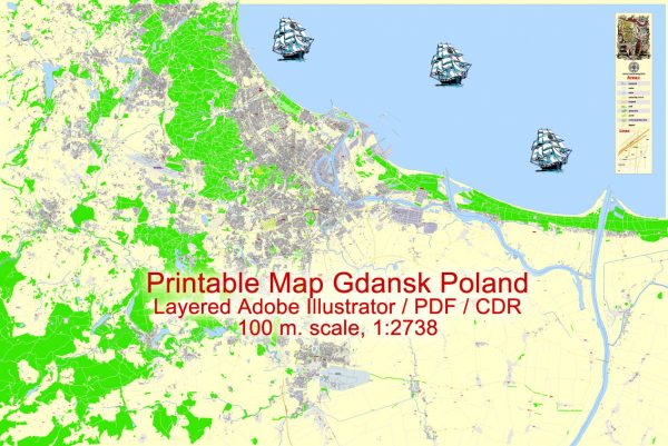 Printable Map Gdansk, Poland, exact vector street G-View Level 17 (100 meters scale) map, all buildings, full editable, Adobe Illustrator