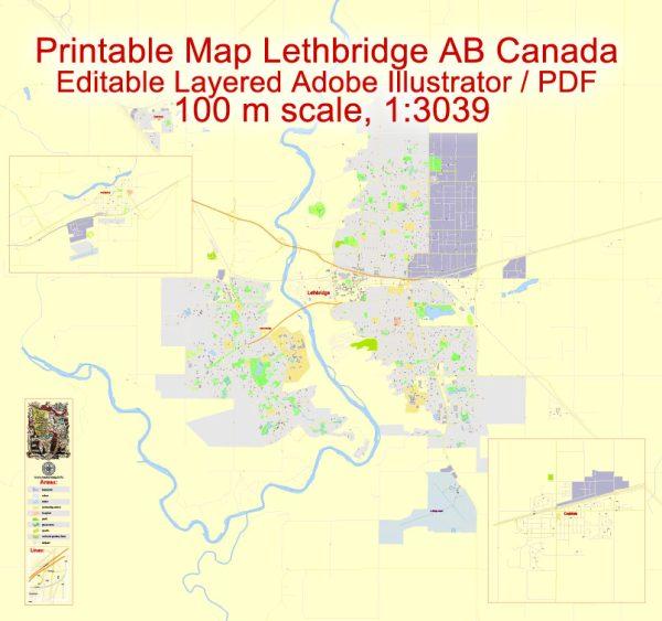 Printable Map Lethbridge + Coaldale + Fort Macleod, Alberta, Canada, exact Map City Plan Level G-View 17 (100 meters scale) full editable, Adobe Illustrator