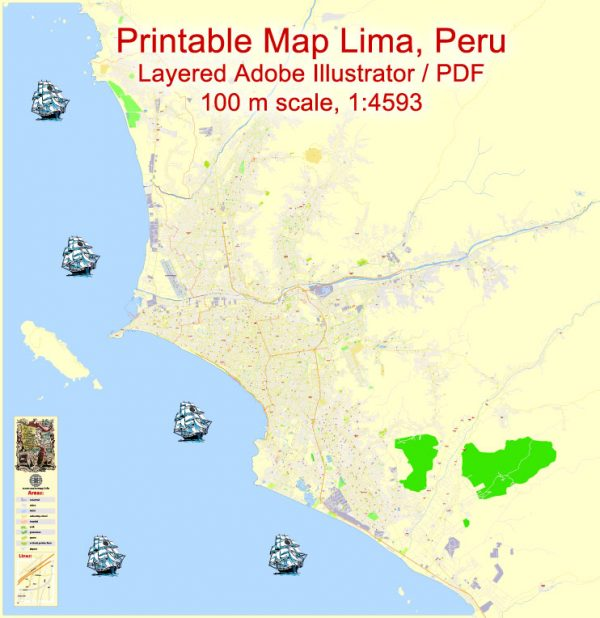 Printable Map Lima, Peru, exact Map City Plan Level G-View 17 (100 meters scale) full editable, Adobe Illustrator