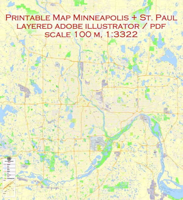 Printable Map Minneapolis + Saint Paul, Minnesota US, exact vector Map street G-View City Plan Level 17 (100 meters scale) full editable, Adobe Illustrator