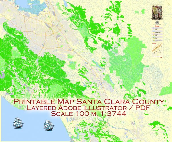 Printable Vector Map Santa Clara County, California US, exact vector Map street G-View City Plan Level 17 (100 meters scale) full editable, Adobe Illustrator