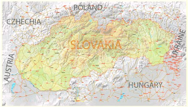 Printable Vector Map Slovakia Country, Relief, Roads and Admin map fully editable Adobe Illustrator