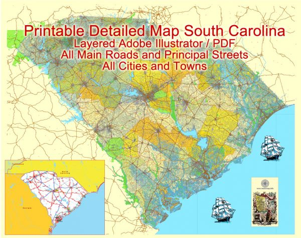 Printable Map South Carolina State, US, exact vector Map Street, Road and Admin Plan, full editable, Adobe Illustrator
