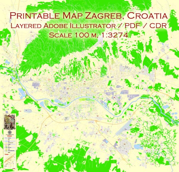 Printable Vector Map Zagreb, Croatia, exact City Plan, street G-View Level 17 (100 meters scale) map, fully editable, Adobe Illustrator