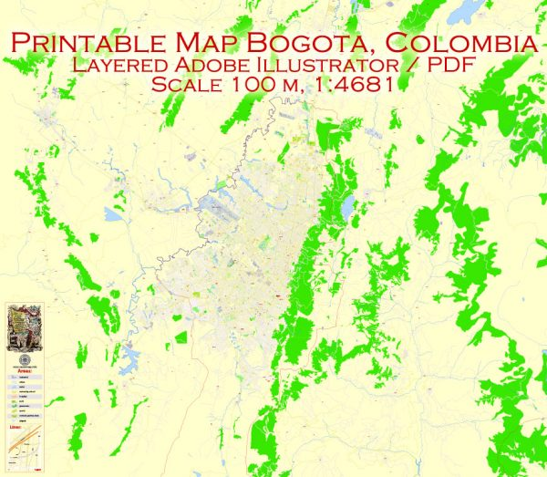 Printable Vector Map Bogota metro area, Colombia, exact vector Map street G-View City Plan Level 17 (100 meters scale) full editable, Adobe Illustrator
