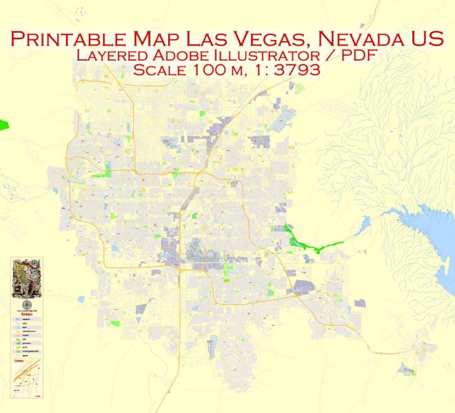 Printable Vector Map Las Vegas, Nevada US, exact vector Map street G-View City Plan Level 17 (100 meters scale) full editable, Adobe Illustrator
