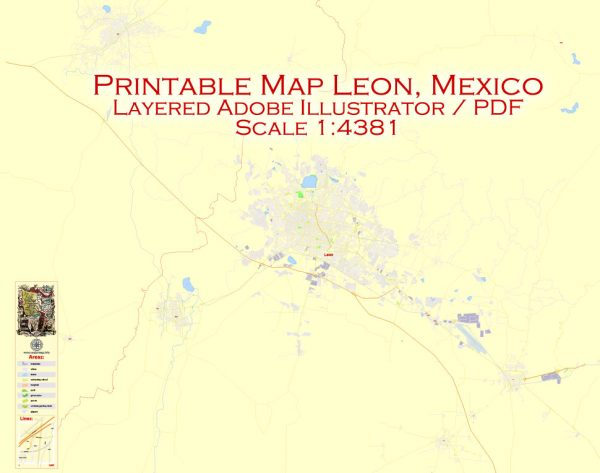Printable Map Leon, Mexico exact vector Map street G-View City Plan Level 17 (100 meters scale) full editable, Adobe Illustrator