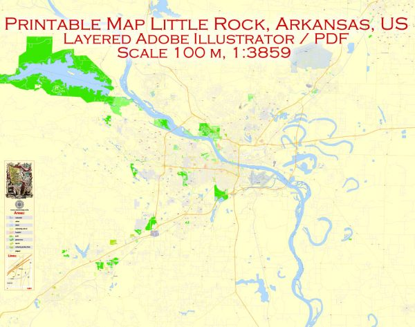 Printable Vector Map Little Rock metro area, Arkansas US, exact vector Map street G-View City Plan Level 17 (100 meters scale) full editable, Adobe Illustrator