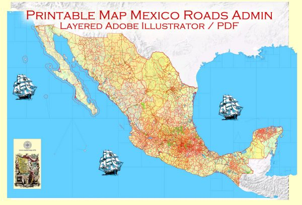 Printable Relief Map Full Mexico exact vector Topo Roads Admin Ports Airports, full editable, Adobe Illustrator