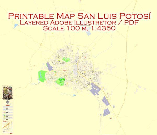 Printable Map San Luis Potosi, Mexico exact vector Map street G-View City Plan Level 17 (100 meters scale) full editable, Adobe Illustrator