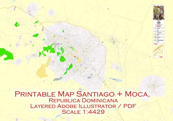 Printable Map Santiago, Republica Dominicana exact vector Map street G-View City Plan Level 17 (100 meters scale) full editable, Adobe Illustrator