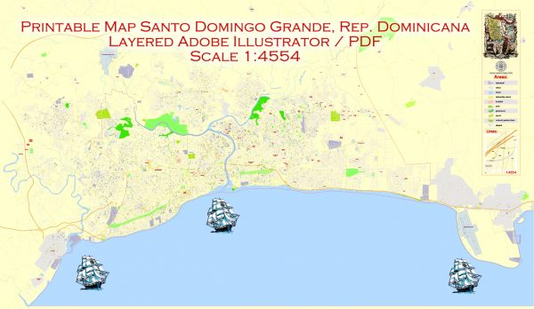 Printable Map Santo Domingo, Republica Dominicana exact vector Map street G-View City Plan Level 17 (100 meters scale) full editable, Adobe Illustrator