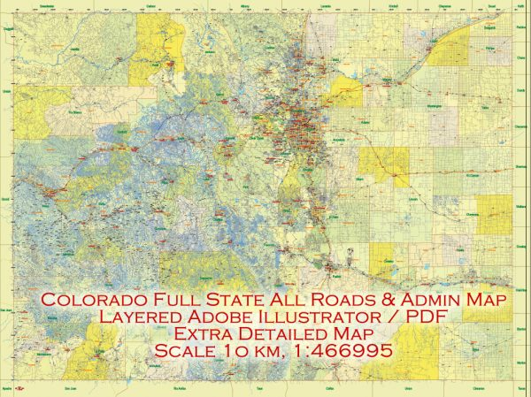 Printable Vector Map Full State of Colorado US, ALL ROADS, extra detailed, exact vector Map 10 km scale full editable, Adobe Illustrator, full vector, scalable, editable text format names, 174 mb ZIP