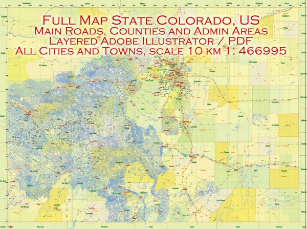 Printable Vector Map Full State of Colorado US, MAIN ROADS, detailed, exact vector Map 10 km scale full editable, Adobe Illustrator