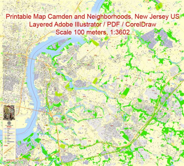 Printable Map Camden and neighborhoods, New Jersey US, exact vector City Plan Map street G-View Level 17 (100 meters scale 1:3602) full editable, Adobe Illustrator