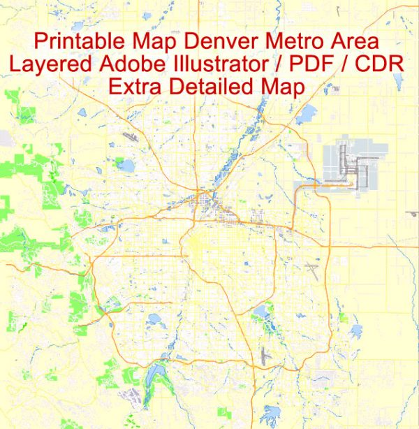 Printable Vector Map Denver metro area, Colorado US, exact vector Map street G-View City Plan Level 17 (100 meters scale) full editable, Adobe Illustrator
