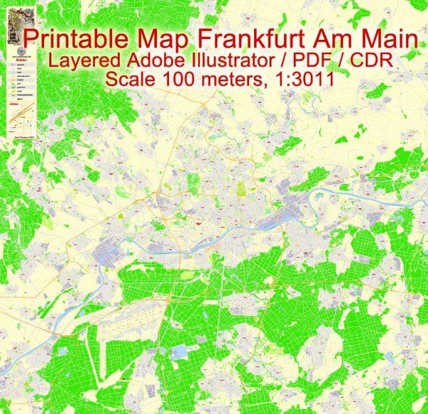 Printable Vector Map Frankfurt Am Main Metro Area, Germany, G-View level 17 (100 m scale) street City Plan map, full editable, Adobe Illustrator