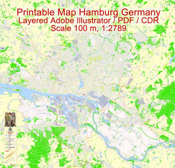 Printable Vector Map Hamburg Metro Area, Germany, G-View level 17 (100 m scale) street City Plan map, full editable, Adobe Illustrator