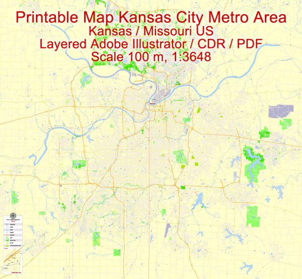 Printable Vector Map Kansas City metro area, Kansas Missouri US, exact vector Map street G-View City Plan Level 17 (100 meters scale) full editable, Adobe Illustrator