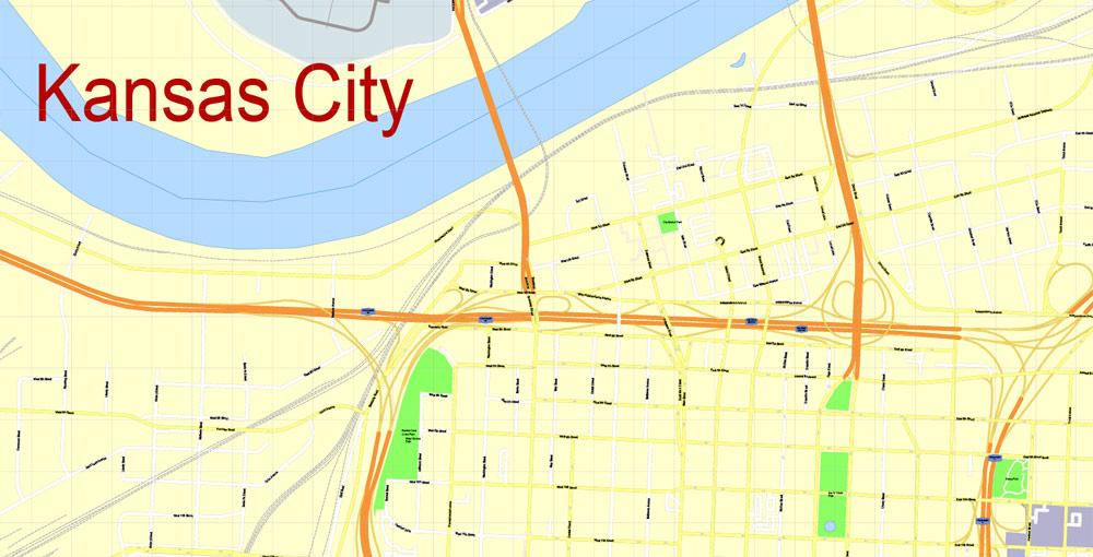 Street map Kansas City Metro Missouri