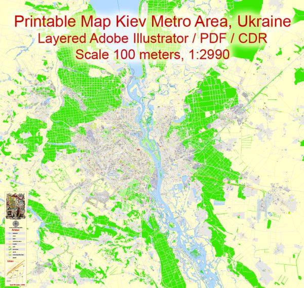 Printable Map Kiev Metro Area, Ukraine, exact vector street G-View Level 17map (100 meters scale, 1:2990), all buildings, full editable, Adobe Illustrator