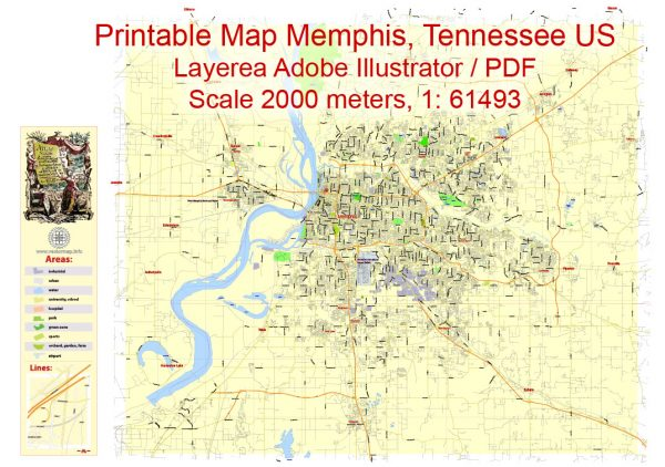 Printable Map Memphis, Tennessee US, exact vector City Plan Map street G-View Level 13 (2000 meters scale) full editable, Adobe Illustrator