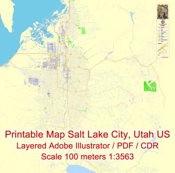Printable Map Salt Lake City Metro area, Utah US, exact vector City Plan Map street G-View Level 17 (100 meters scale 1:3563) full editable, Adobe Illustrator
