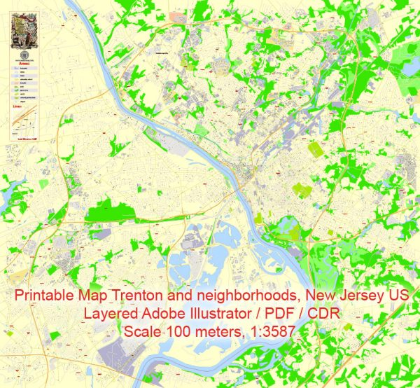 Printable Map Trenton and neighborhoods, New Jersey US, exact vector City Plan Map street G-View Level 17 (100 meters scale 1:3587) full editable, Adobe Illustrator