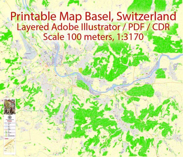 Printable Map Basel Switzerland, exact vector street G-View Level 17 map (100 meters scale, 1:3170), all buildings, full editable, Adobe Illustrator