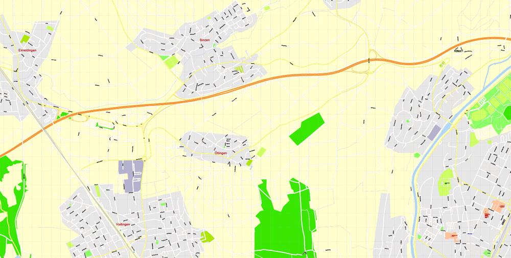 Street map Basel Switzerland CDR