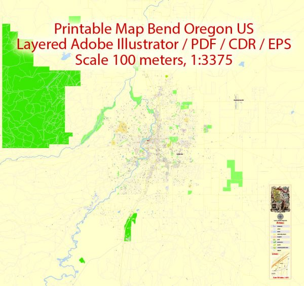 Printable Map Bend Oregon US, exact vector City Plan Map street G-View Level 17 (100 meters scale 1:3375) full editable, Adobe Illustrator