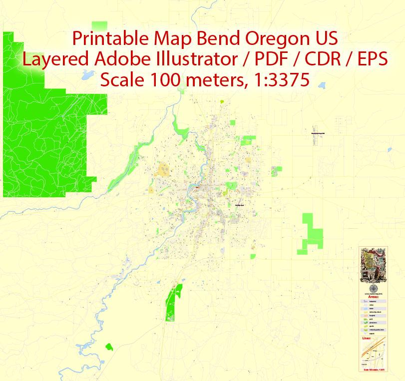Street map Bend Oregon EPS
