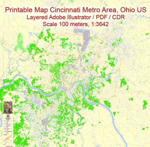 Cincinnati Printable Map Ohio US exact vector City Plan scale 1:3642 editable Street Map Adobe Illustrator