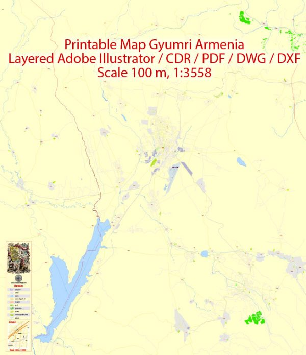 Editable DWG+DXF Map Gyumri Armenia, exact vector City Plan Map street Eng+Arm G-View Level 17 (100 meters scale 1:3558) full editable