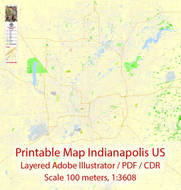 Printable Map Indianapolis US, exact vector City Plan Map street G-View Level 17 (100 meters scale 1:3608) full editable, Adobe Illustrator