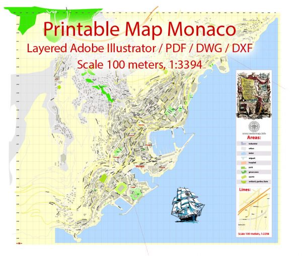 Printable Map Monaco, exact vector City Plan Map street G-View Level 17 (100 meters scale 1:3394) full editable, Adobe Illustrator