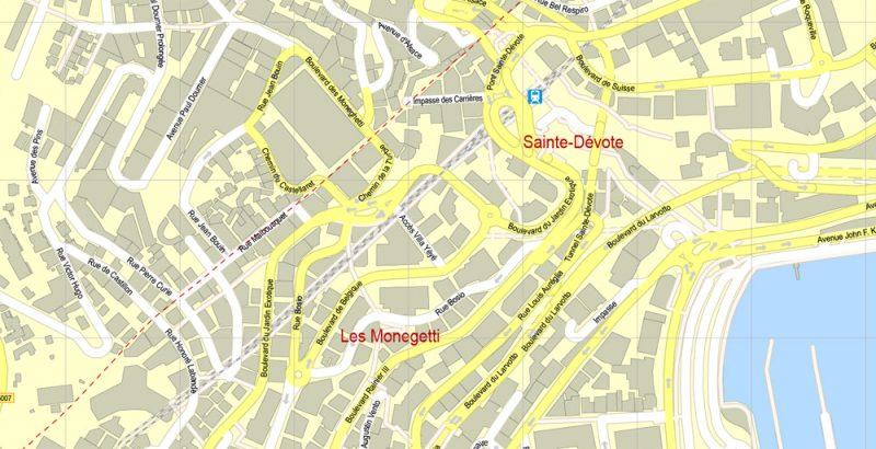 Printable Map Monaco, exact vector City Plan Map street G-View Level 17 (100 meters scale 1:3394) full editable, Adobe Illustrator