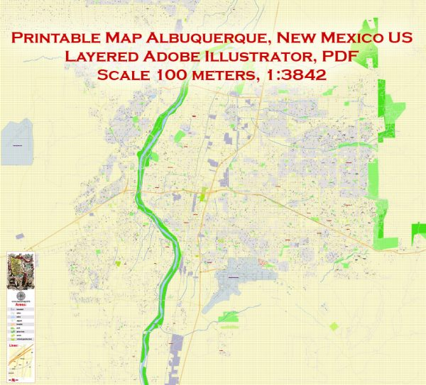 Printable Map Albuquerque, New Mexico US, exact vector City Plan Map street 100 meters scale 1:3842,  full editable, Adobe Illustrator, full vector, scalable, editable text format  street names, 17 mb ZIP