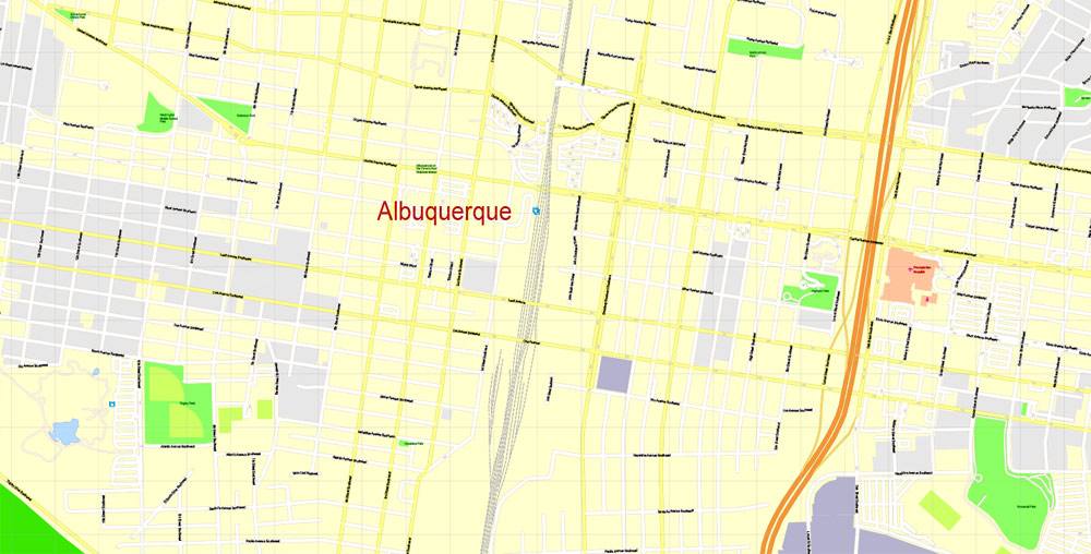 Printable Map Albuquerque, New Mexico US,exact vector City Plan Mapstreet 100 meters scale 1:3842, full editable, Adobe Illustrator, full vector, scalable, editable text format street names,17 mbZIP