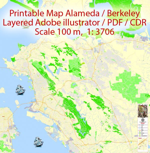 Printable Map Oakland + Berkeley + Richmond + Alameda + San Leandro + Albany, California US, exact vector City Plan Map street 100 meters scale 1:3706,  full editable, Adobe Illustrator