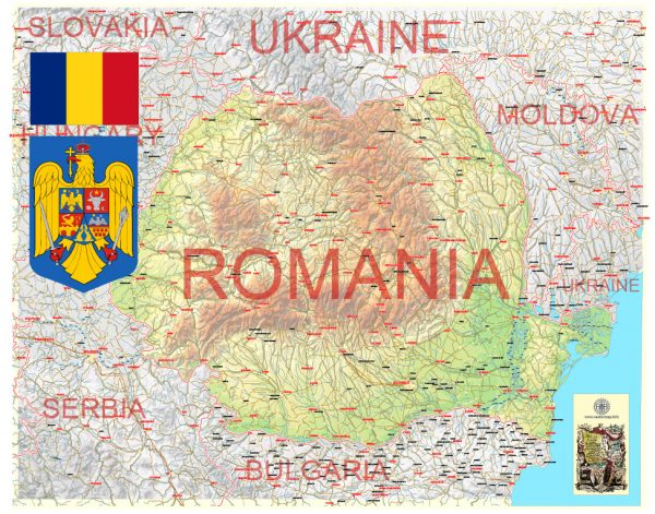 Printable Vector Country Map Romania, Topo Road map, full editable, Adobe Illustrator