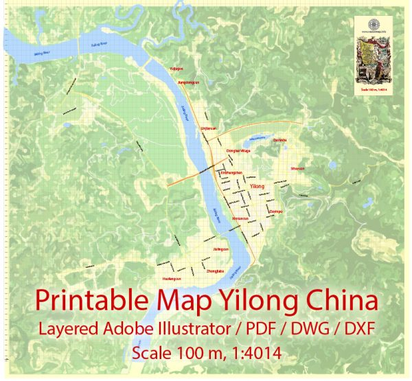 Printable Map Yilong Cnina, exact vector City Plan Map street Level 17 (100 meters scale 1:4686) full editable, Adobe Illustrator, PDF, DWG and DXF in 1 archive