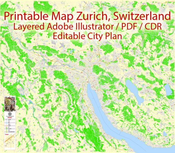Printable Map Zurich Switzerland, exact vector street G-View Level 17 map (100 meters scale, 1:3170), full editable, Adobe Illustrator