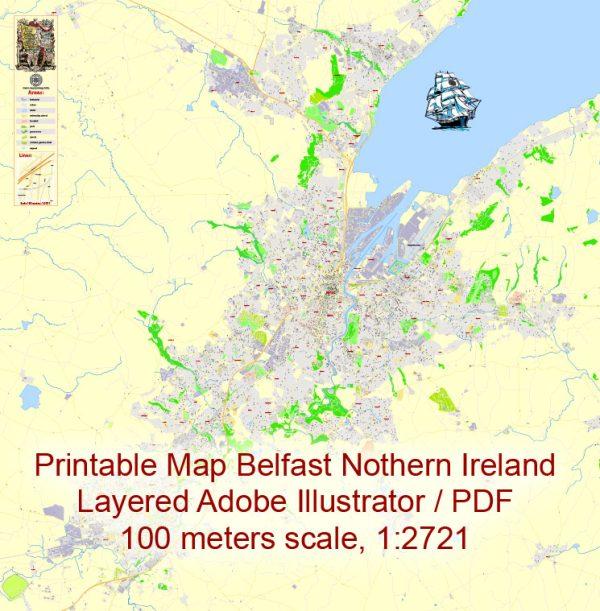 Printable VectorMap Belfast Metropolitan Area, Northern Ireland, exact detailed City Plan with Buildings, 100meters scale map 1:2721, editable Layered Adobe Illustrator