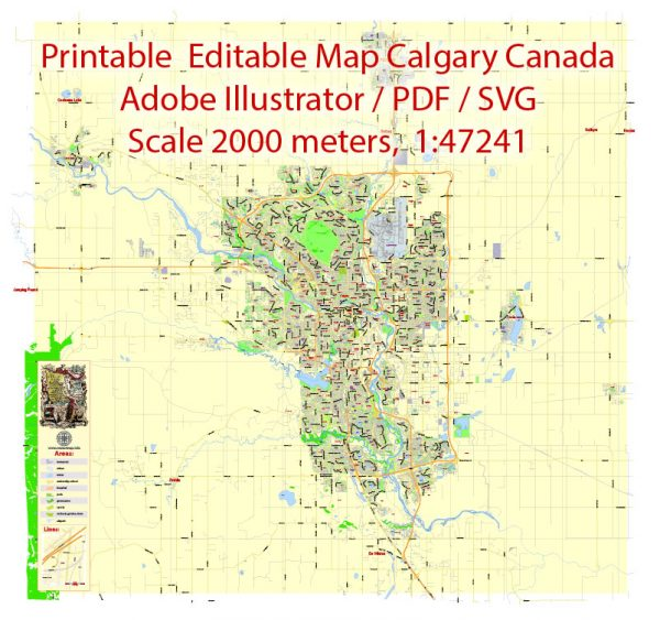 Printable Map Calgary, Canada, exact City Plan 2000 meters scale full editable, Adobe Illustrator, vector, scalable, editable text format  street names, 12 mb ZIP