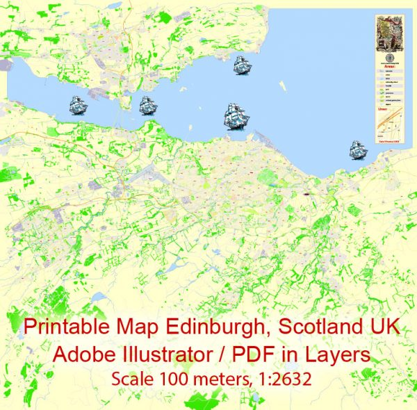 Printable Vector Map Edinburgh Metropolitan Area, Scotland UK, exact detailed City Plan, 100 meters scale map  1:2632, editable Layered Adobe Illustrator, 26 Mb ZIP.