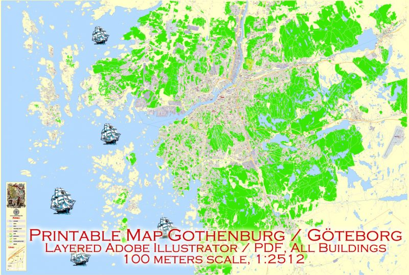 Editable PDF Map Gothenburg Göteborg, Sweden, exact City Plan All Buildings, street G-View Level 17 (100 meters scale) map, fully editable, Adobe PDF, full vector, scalable, editable text format of street names, 60 Mb ZIP.